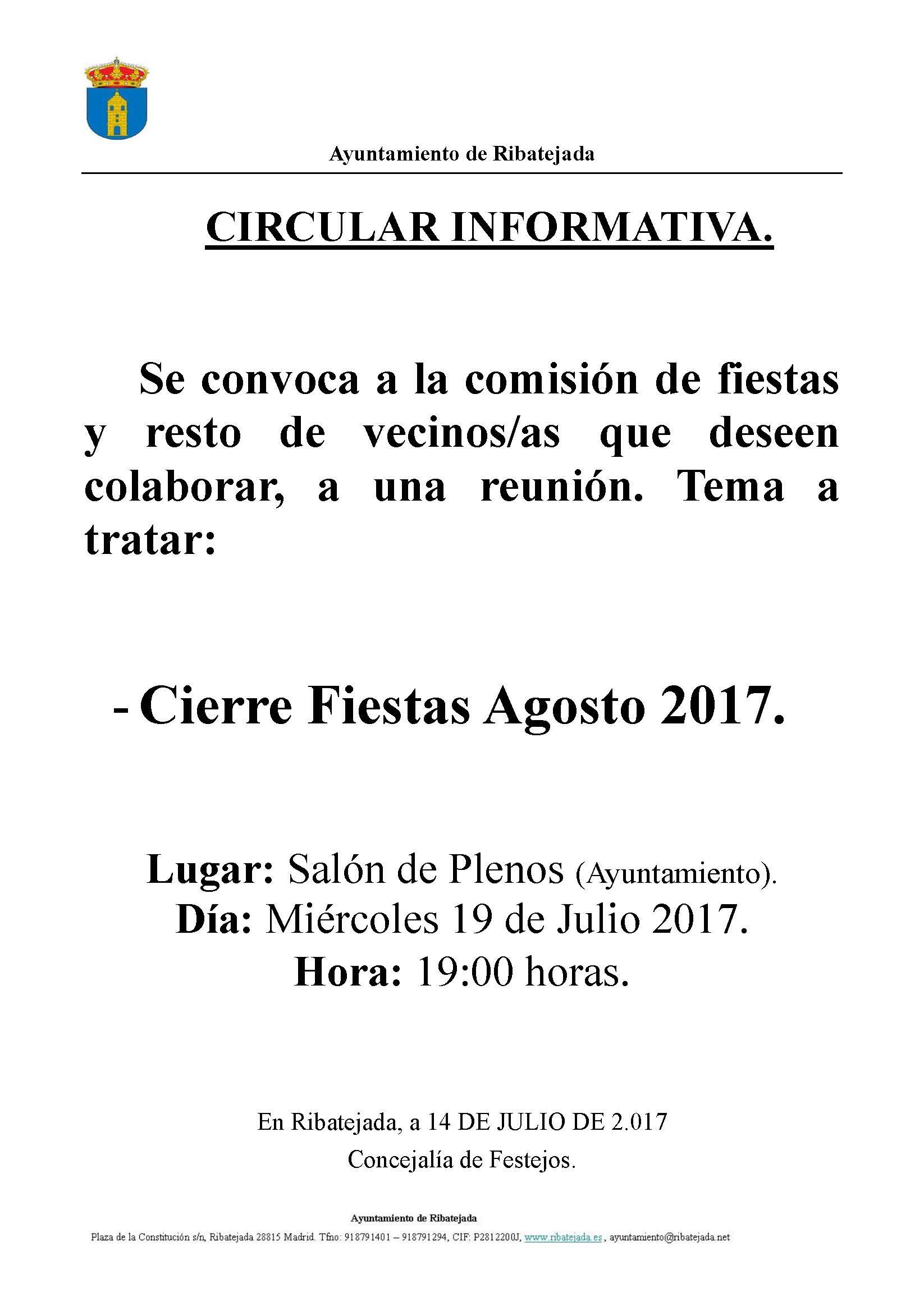 III Reunion Comision Fiestas 2017