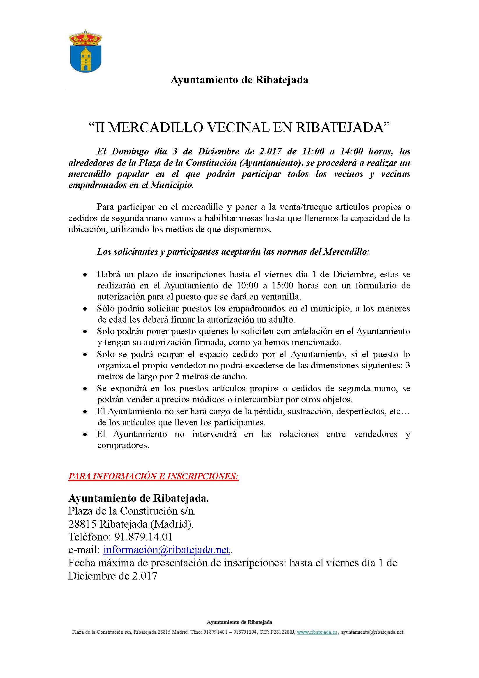 Ii Mercadillo Vecinal De Ribatejada Domingo 3 De Diciembre  ~ Mercadillo De Segunda Mano Madrid