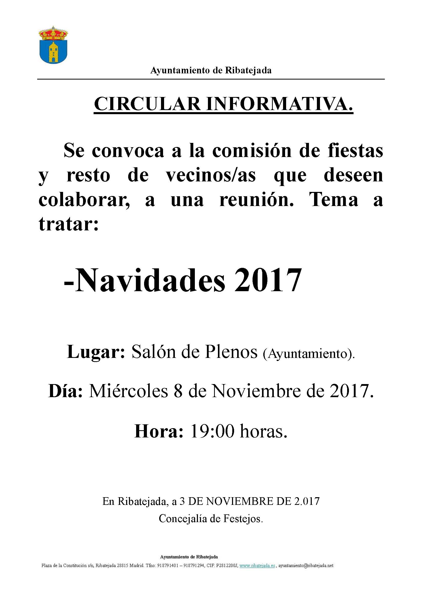 V Reunion Comision Fiestas Navidades 2.017